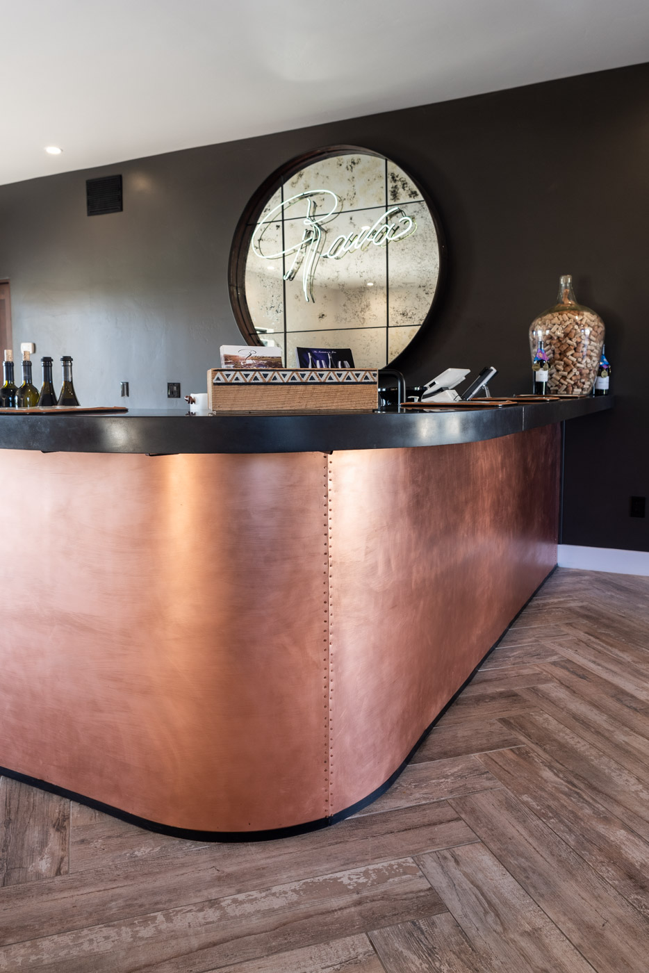Industrial Wine Tasting Room home bar custom cabinets
