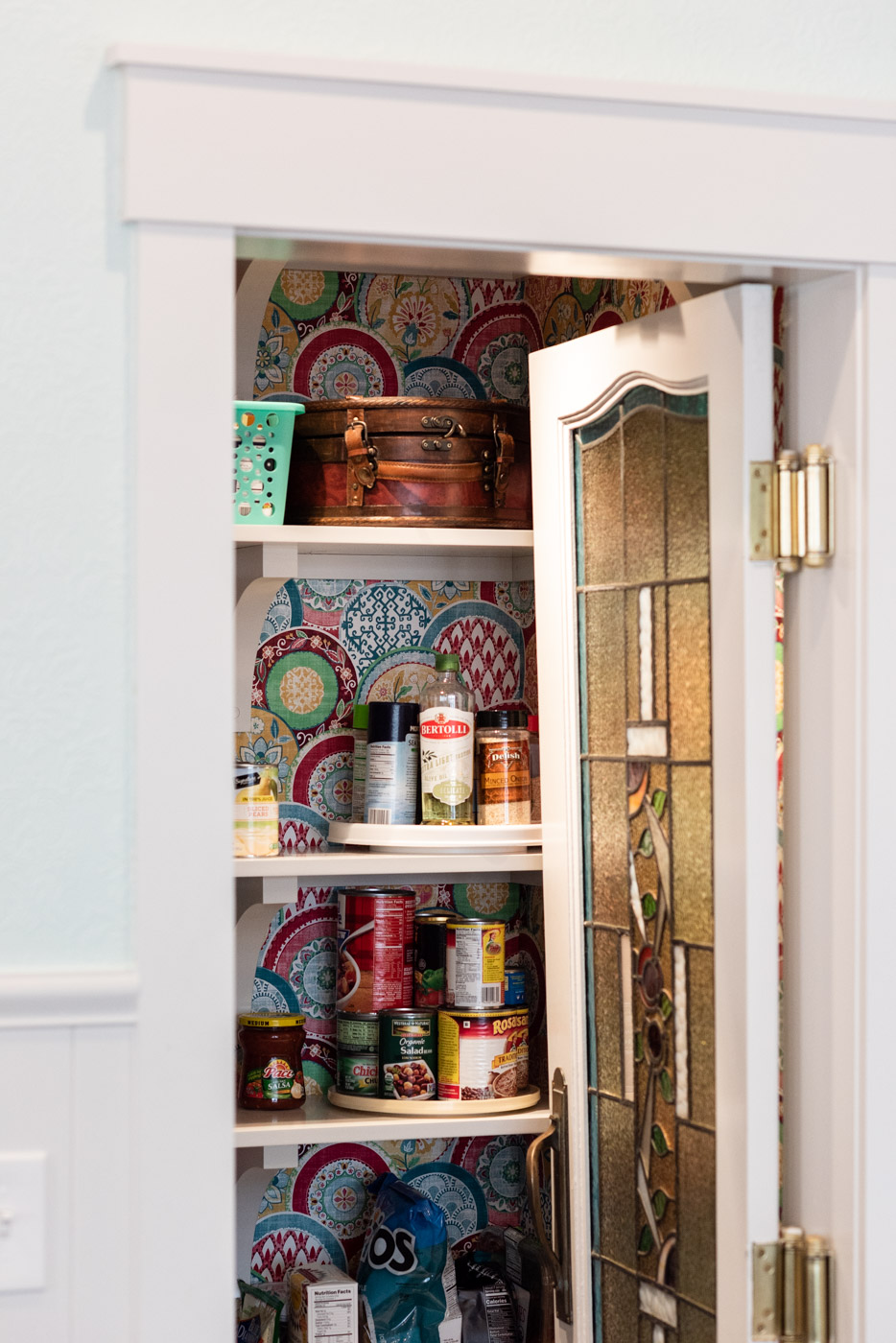 Eclectic Country Craftsman kitchen with custom blue painted cabinets and pantry shelving