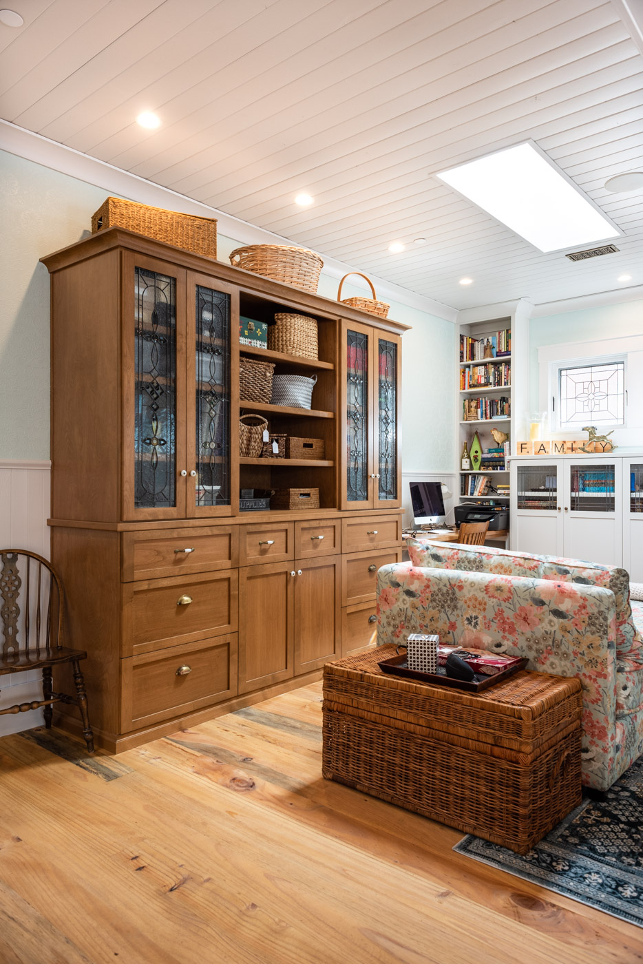 Eclectic Country Craftsman custom living room built in display case with custom wood stained cabinets