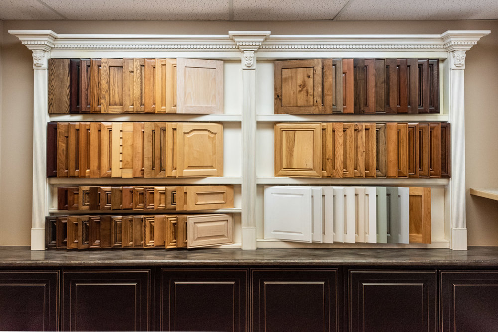 A selection of custom cabinet doors and drawer fronts at Sligh Cabinets, Inc. Paso Robles, California showroom