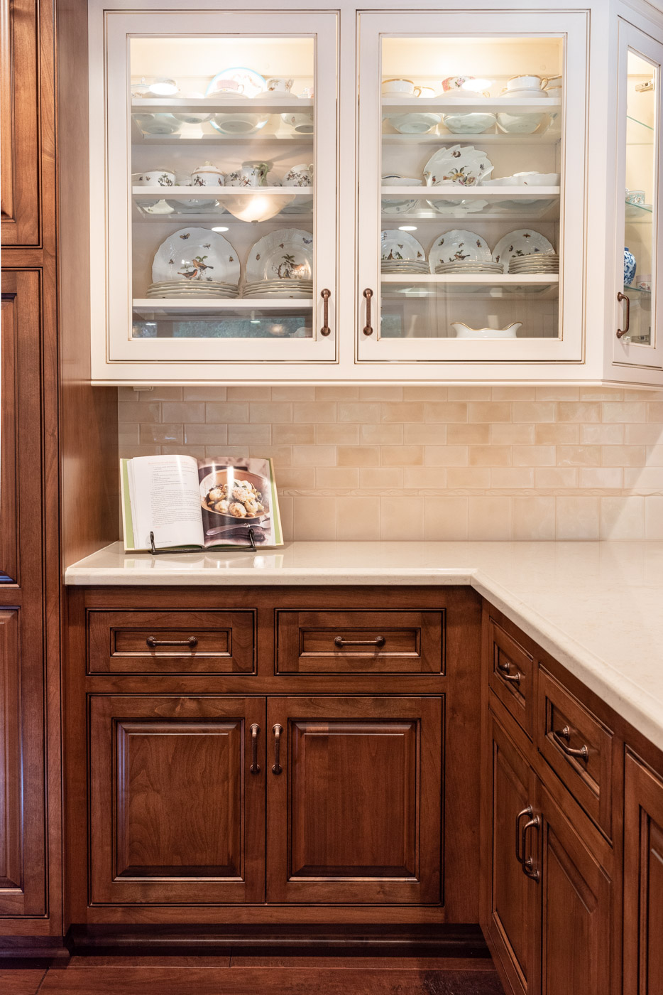 English Country custom kitchen cabinets with glass display cabinets