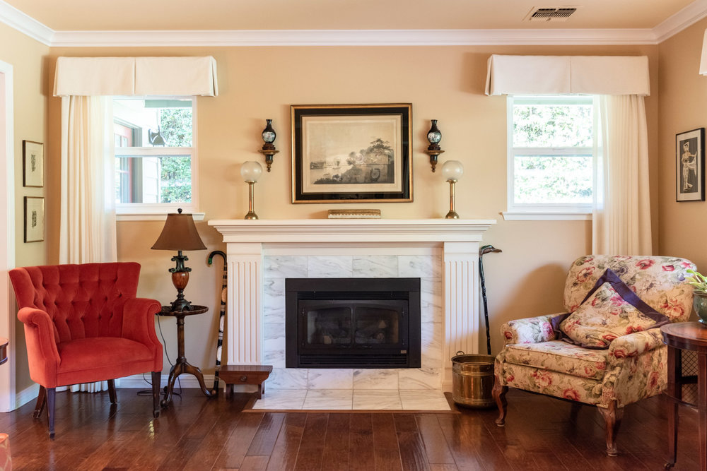 English Country Home custom living room white painted wood mantle