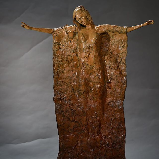 """Ariana 32"""" H x 24"""" W x 10"""" D Bronze, numbered to 35 editions. Ariana, was originally a Yoga sculpture, but I decided to change her into this ethereal haunting floating sculpture that sparks the imagination to conjure up her history. Who is she, is she levitating or is she landing, what is she thinking?…that's up to the viewer.  #sculpture #danromerosculpture #nativeamerican #portraitscultpure #bronzesculpture #orginalart #sculpting #artist #bronzeartist #artgallery #lagunaart #nativeamericanart #ballerina #instaart #1001sculptures"""