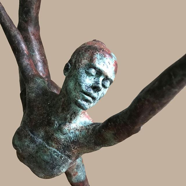 """Paulina 33"""" H x 17"""" W x 8"""" D Bronze, numbered to 30 editions. My Ballerina was going to be a Cirque performer, but in the studio I turned her vertically and discovered a beautiful Ballerina coming to life for me. She embodies the movement and confidence of a Prima Ballerina. #sculpture #danromerosculpture #nativeamerican #portraitscultpure #bronzesculpture #orginalart #sculpting #artist #bronzeartist #artgallery #lagunaart #nativeamericanart #ballerina #instaart #1001sculptures"""