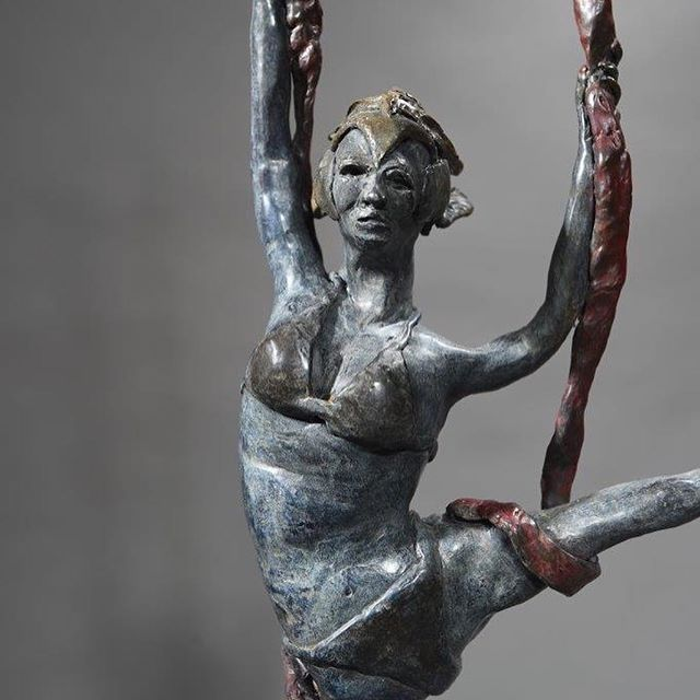 "Svetlana | Cirque Aerial Performer 11""W x 3""D x 17""H Bronze, Numbered to 25 editions. Creating a figure that appears to be delicately suspended above the surface with only the drapery from above was my quest. I think I achieved that,  I love her movement. #sculpture #danromerosculpture #nativeamerican #portraitscultpure #bronzesculpture #orginalart #sculpting #artist #bronzeartist #artgallery #lagunaart #nativeamericanart #ballerina #instaart #1001sculptures"