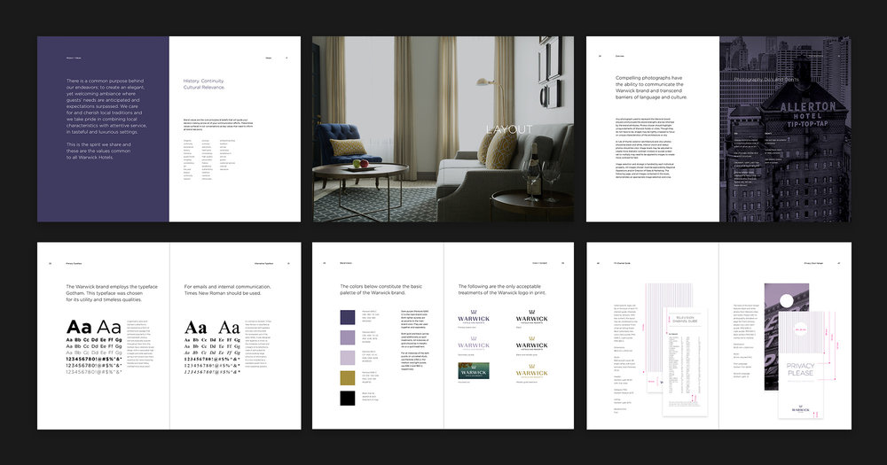 Warwick Hotels logo design and brand standards guide