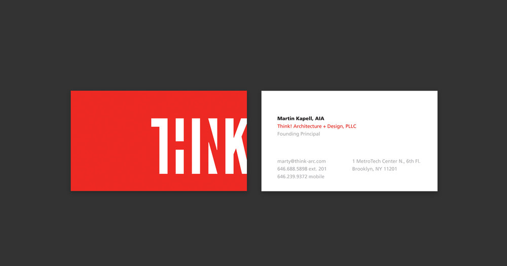 Think! business card and stationery design