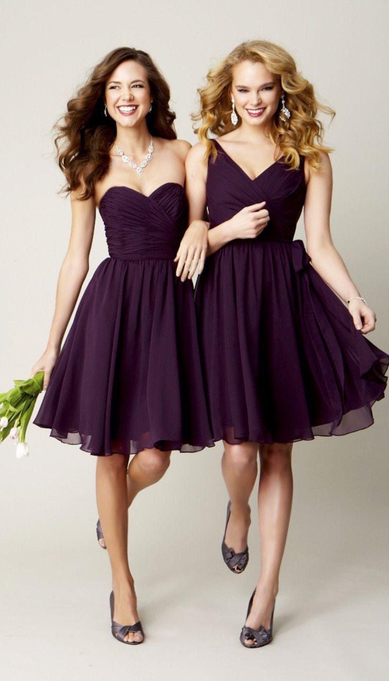 Dark Purple Bridesmaids Dresses