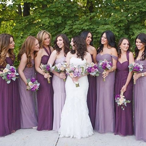 Mixed & Matched Purple Bridesmaids Dresses