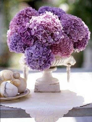 Purple Hydrangea Wedding Centerpiece