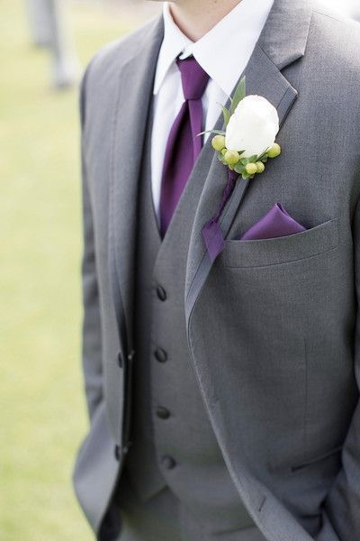 Groom with Purple Accessories