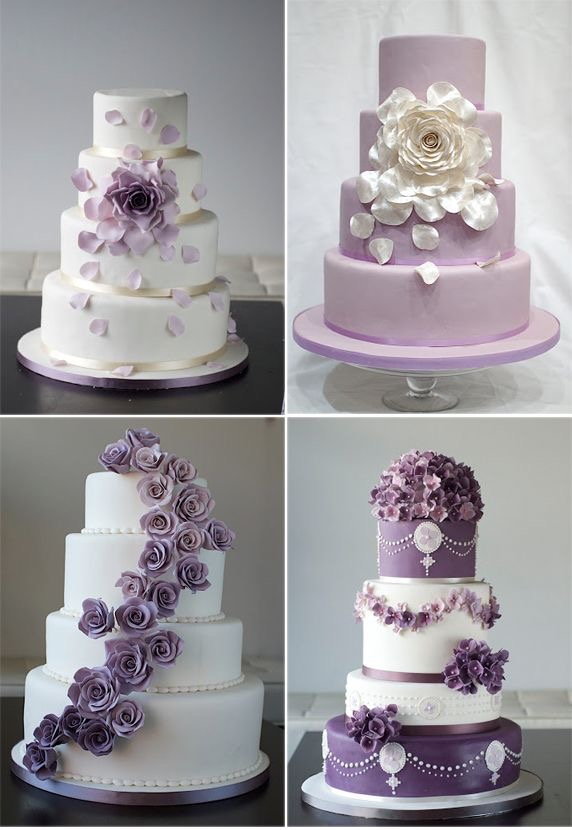 Purple & White Wedding Cakes