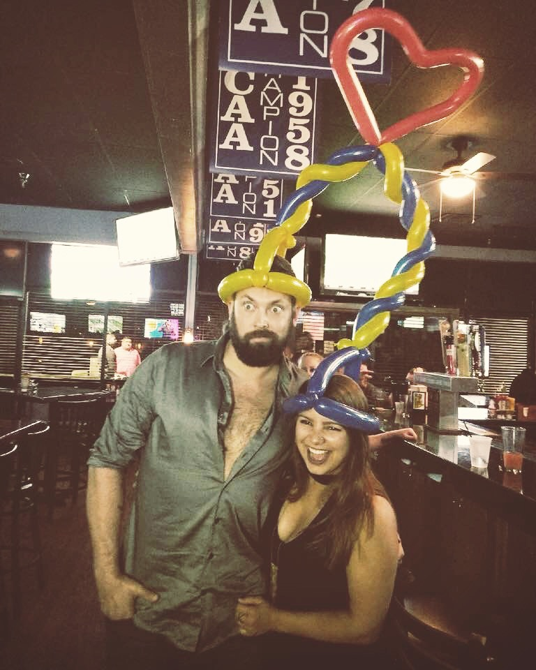 Christopher & Ashley with a joint balloon hat