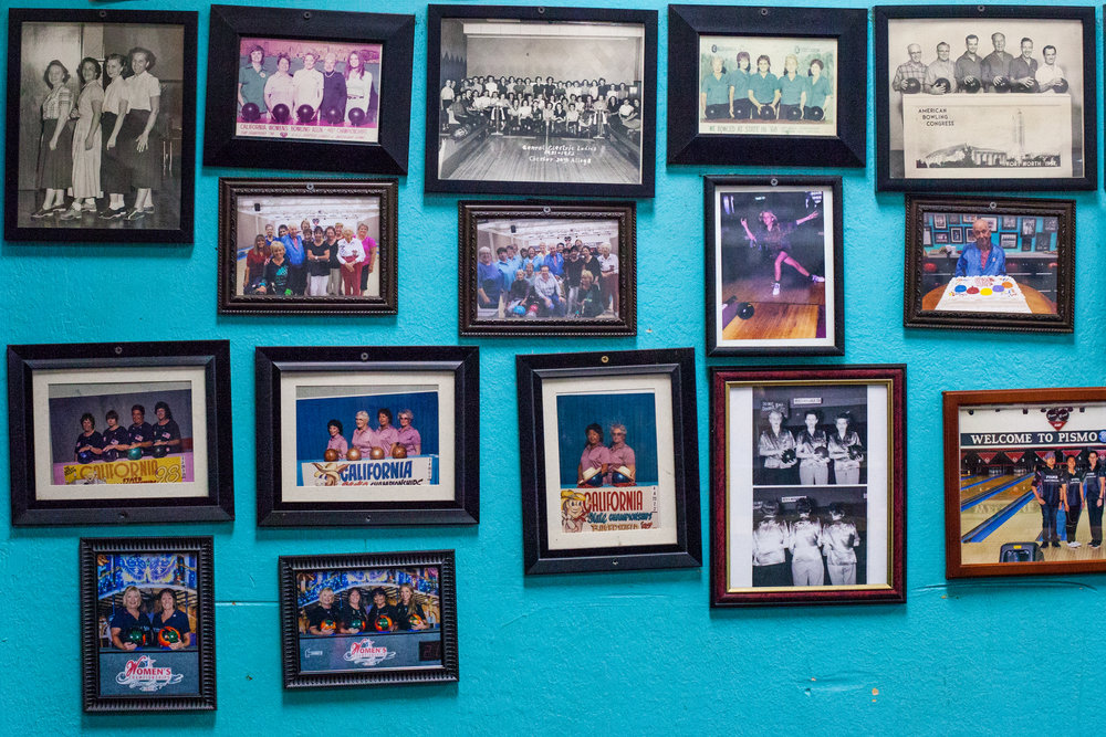 Collection of women's bowling teams and members at Pismo Bowl over the years; earliest pictured from 1951