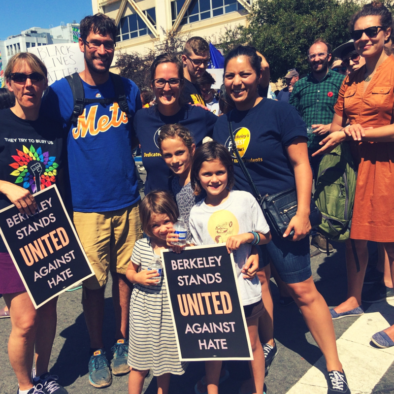 Family and friends in Berkeley at the first United Against Hate rally in 2017.