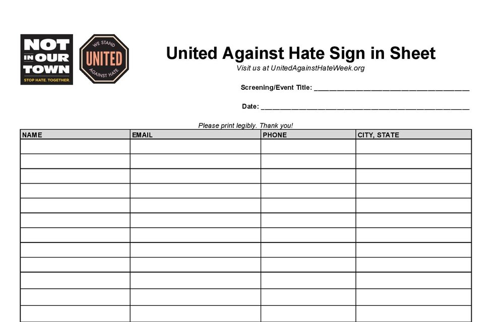 Sign-In Sheet - Make sure that attendees sign-in at your event