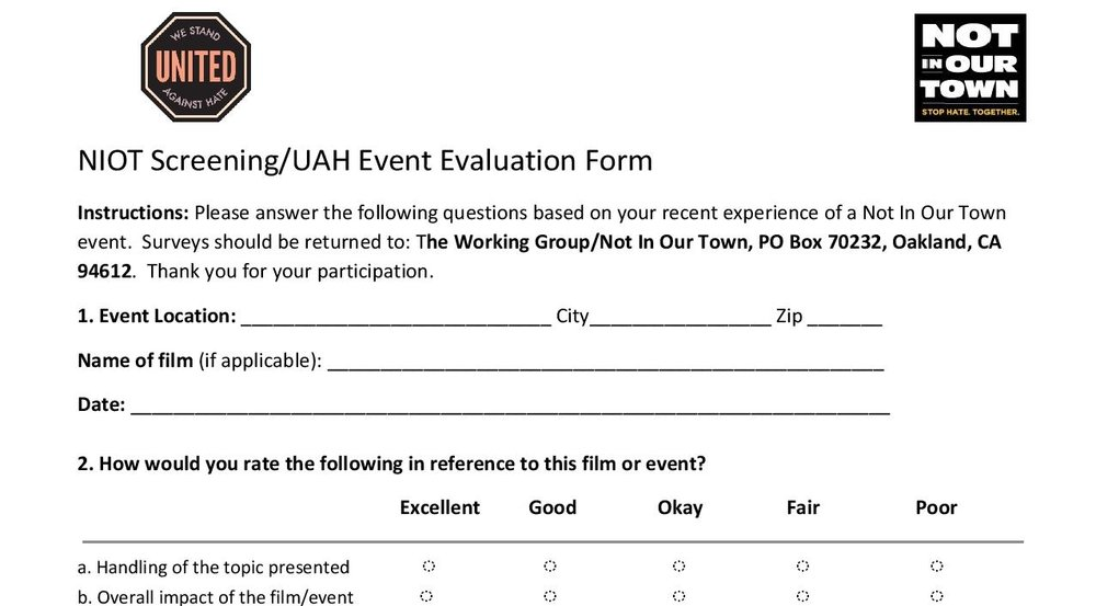 Survey Form - Make sure that attendees provide feedback at your event
