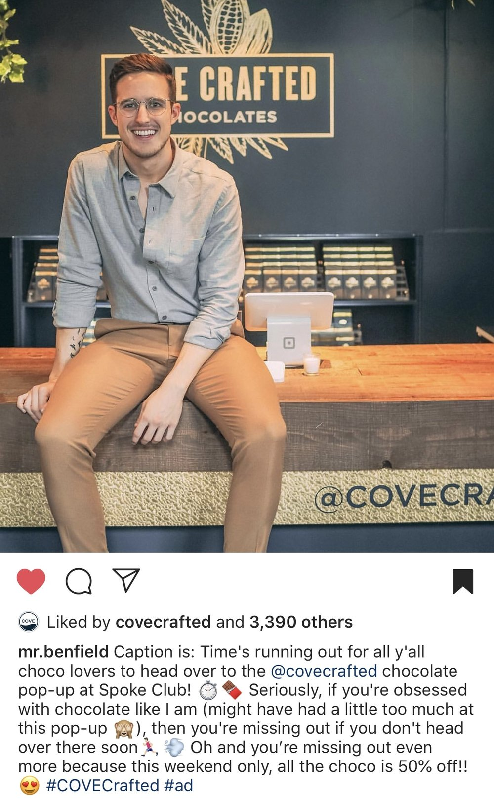 "This image shows an influencer advertising for Cove Crafted's pop-up shop in Toronto right before legalization. The influencer drives traffic to the store and tags the company in the description and picture. COVE is a cannabis brand owned by Cronos Group. We think he forgot to delete the ""Caption is:"" part at the beginning."