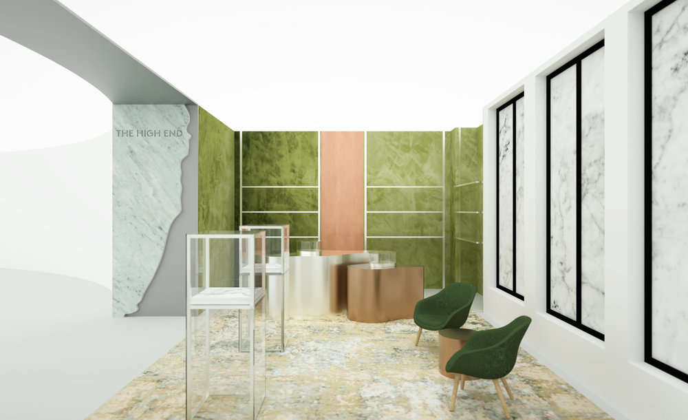 A rendering of High End, a marijuana store inside the Barneys in Beverly Hills, Calif., expected to open in March. Image courtesy of  nytimes.com