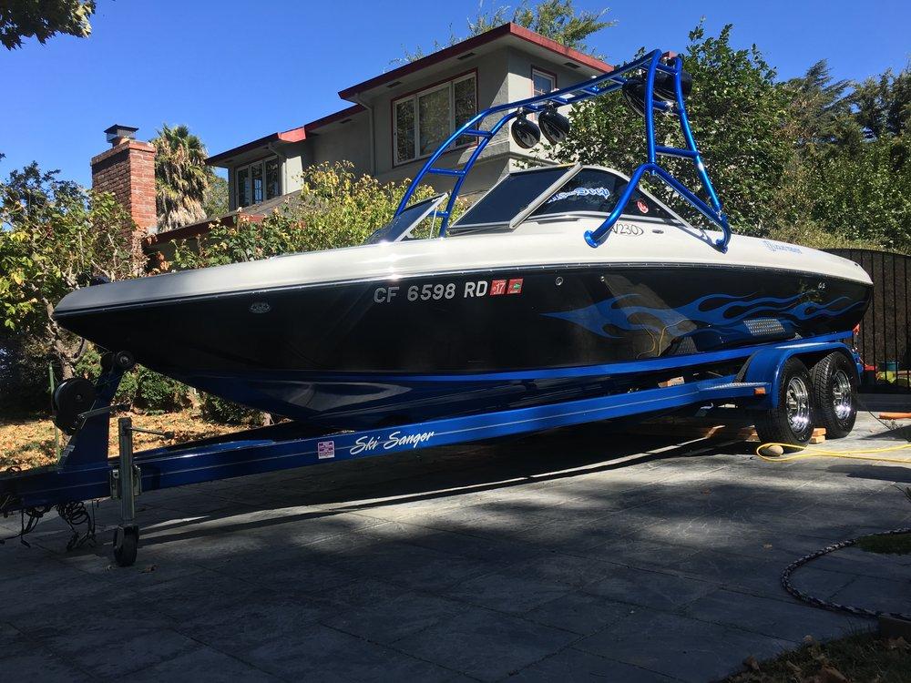 Blue Hull Ski Boat
