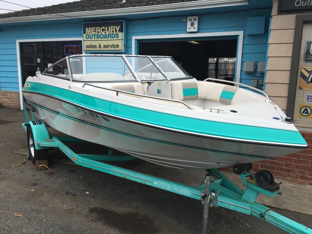 Turquoise Ski Boat
