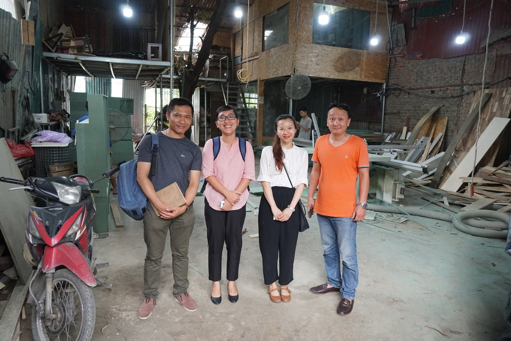 Noi Pallet Company owner Cuong and his collaborator Bien with Unesco Creative Industry Officer Thuy, Tran Thi Thu second left and Hanoi project assistant Nguyen Hai Ha. third left.