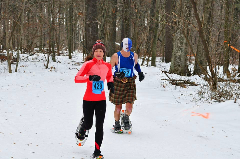 "Racing alongside snowshoe legend Jim ""Braveheart"" McDonell."