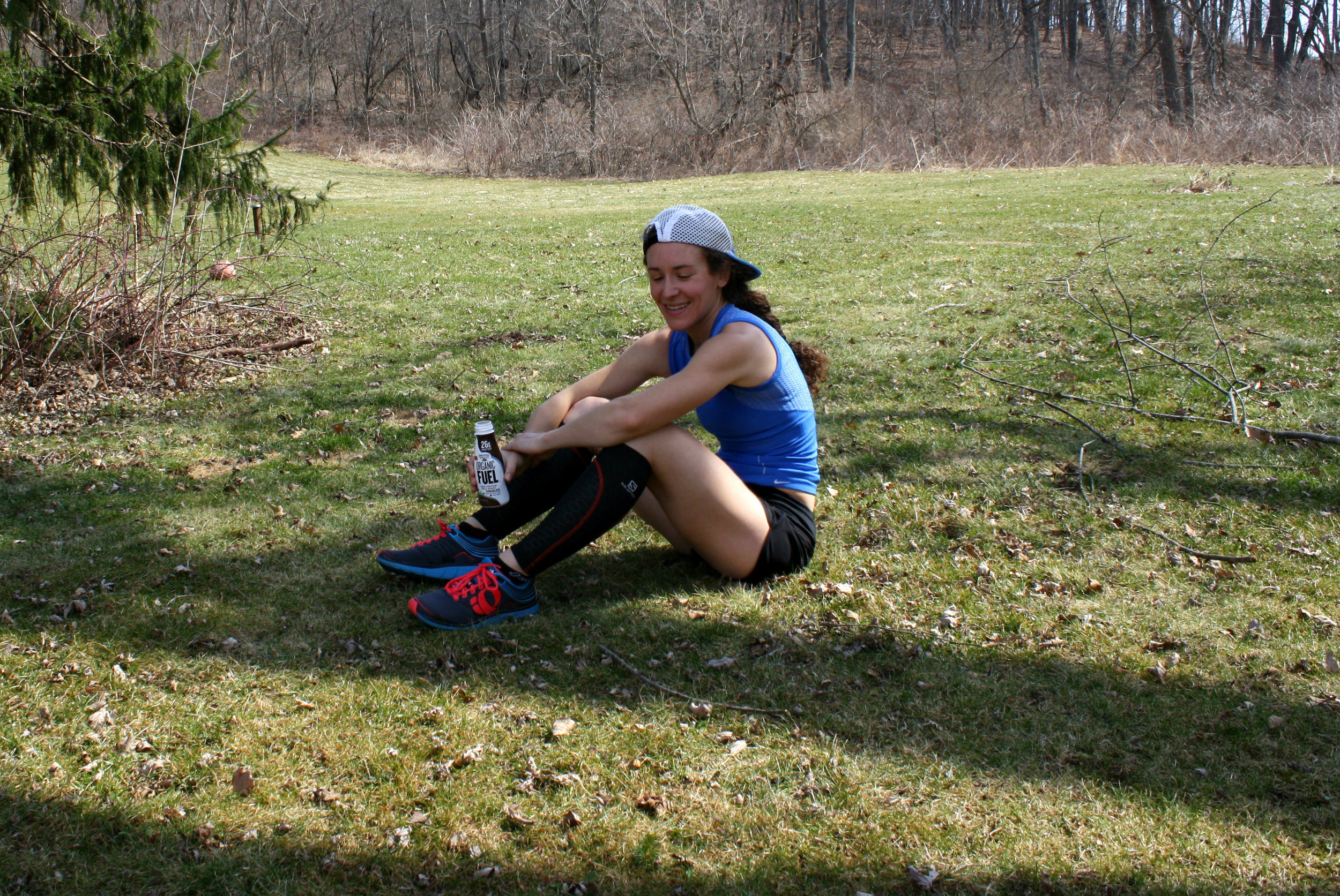 Recovering after a run with Organic Valley Organic Fuel.