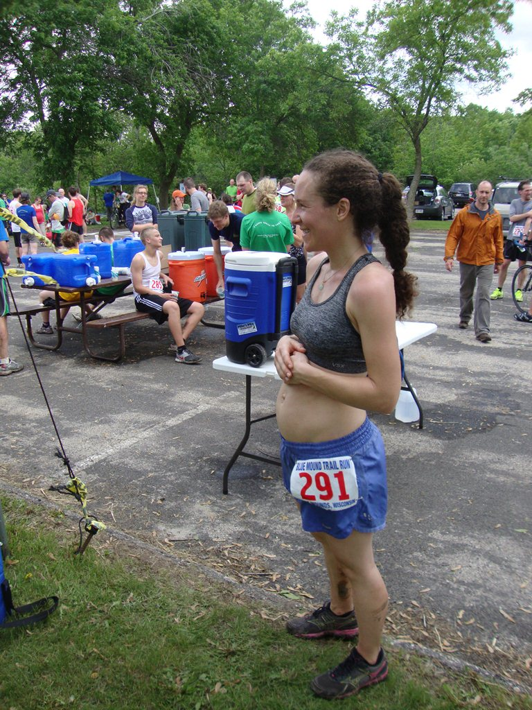 14 weeks pregnant with Mischa at the 2012 22k.