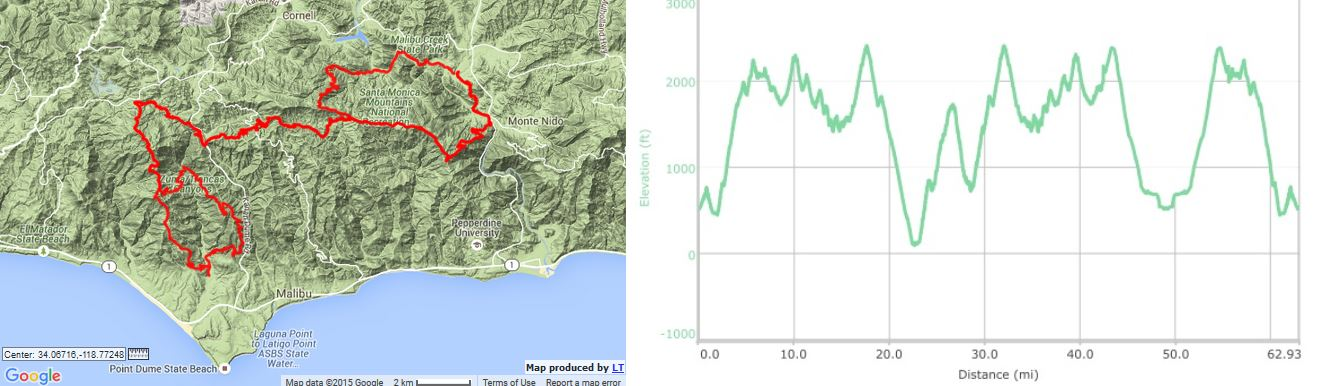 Sean O'Brien 100k course map and elevation profile