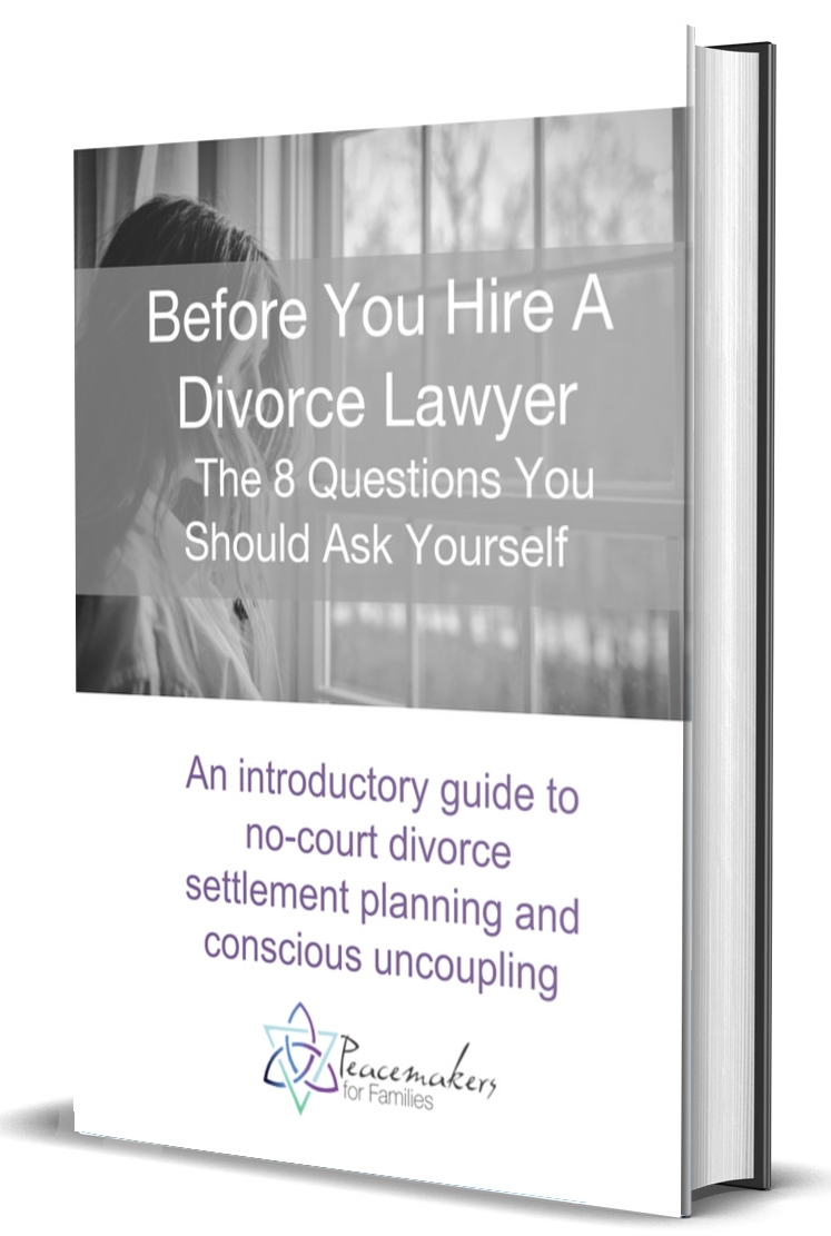 Before you hire a divorce lawyer…the 8 questions you should ask yourself - Get your introductory guide to no-court divorce settlement planning and conscious uncoupling.
