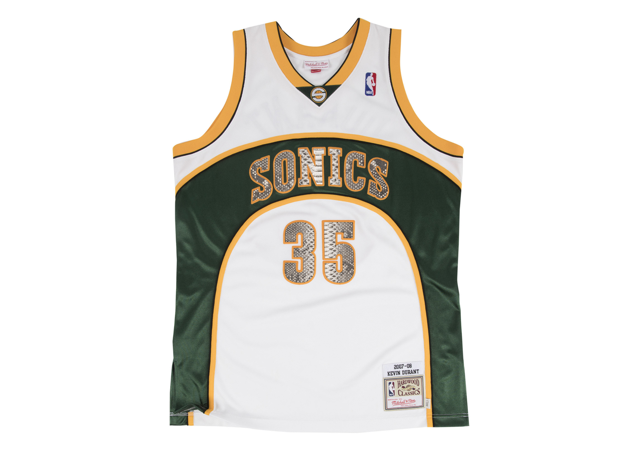 ce80b334eef5 Mitchell   Ness Kevin Durant 2007-2008 Seattle SuperSonics Python Jersey  (White)