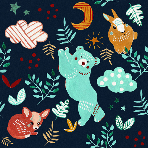 Friendly Forest Animals Pattern by Anca Pora