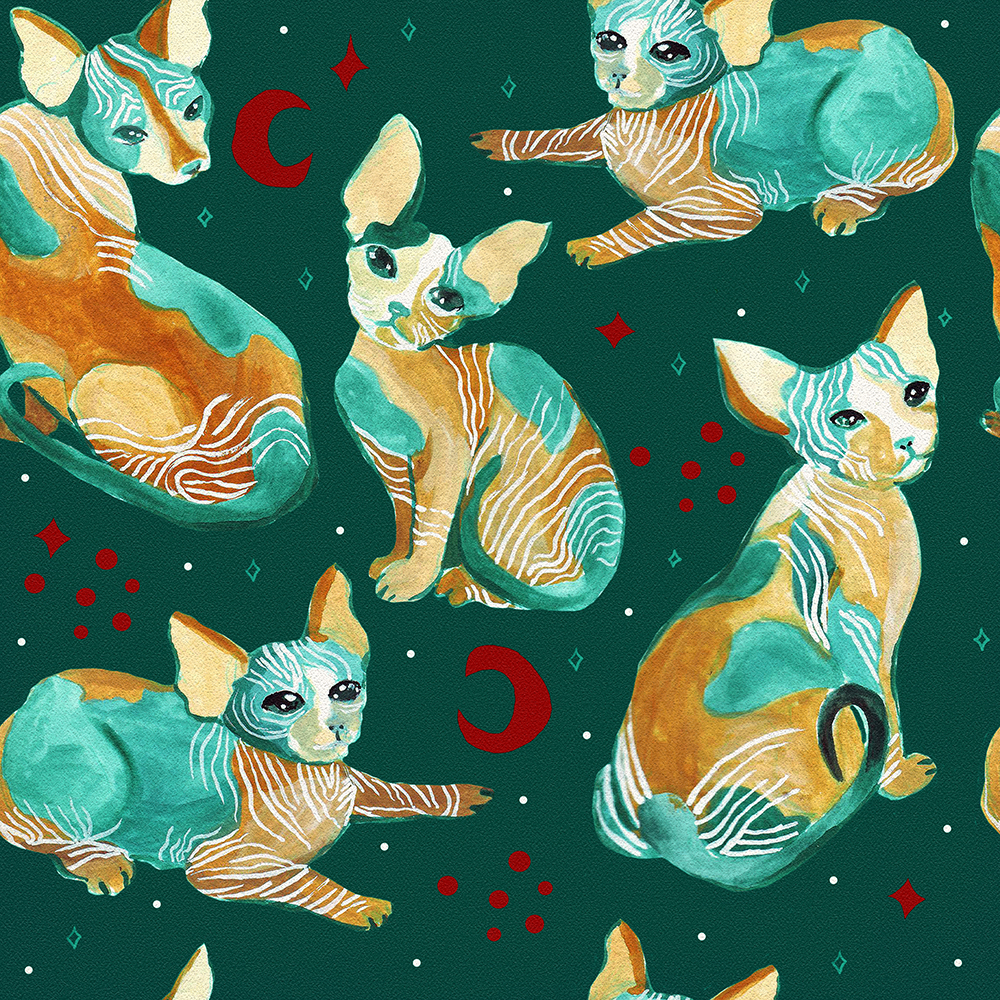Graphic Sphynx Cats by Anca Pora