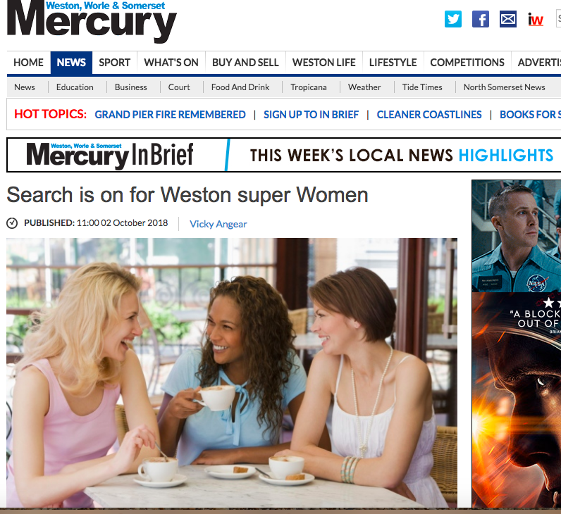 Weston super Women hits the headlines. - Delighted to be seen in The Mercury! The article trended at number two most read article for a few hours in the morning it launched.Read more HERE