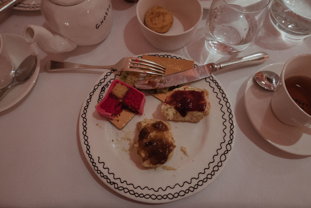 Battenberg Cake & Scones with Clotted Cream and Jam.