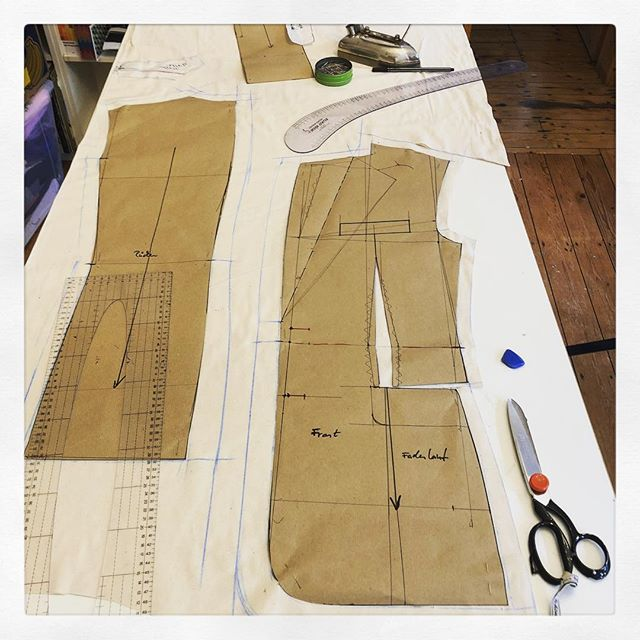 Is it an airplane? No, it's not #rocket science, just #patternmaking. Still some #math included. #menswear #tailoring #toolsofthetrade #clothing #rockpaperscissors