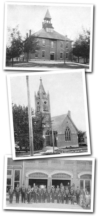 Village of Anna Historic Photos (top to bottom):  High School, Methodist Church, Fire Depot
