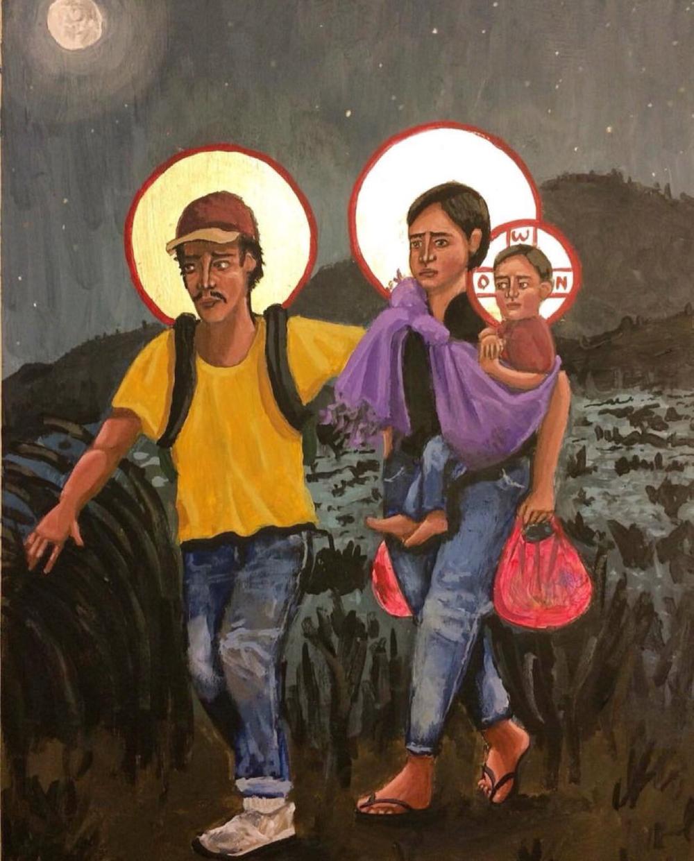 Refugees: La Sagrada Familia by Kelly Latimore (https://kellylatimoreicons.com)