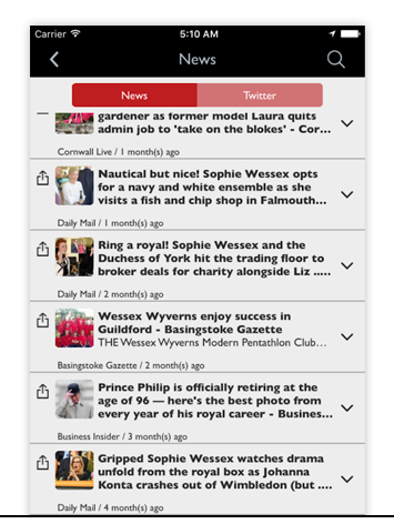 NEWS - Keep your app users up-to-date on issues that relate to your business or industry. The content that appears in your feed depends on the keywords you provide.