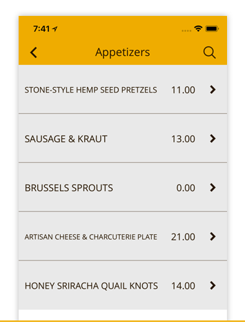 MENU - Build out your entire menu in the app, with specific prices for each item.