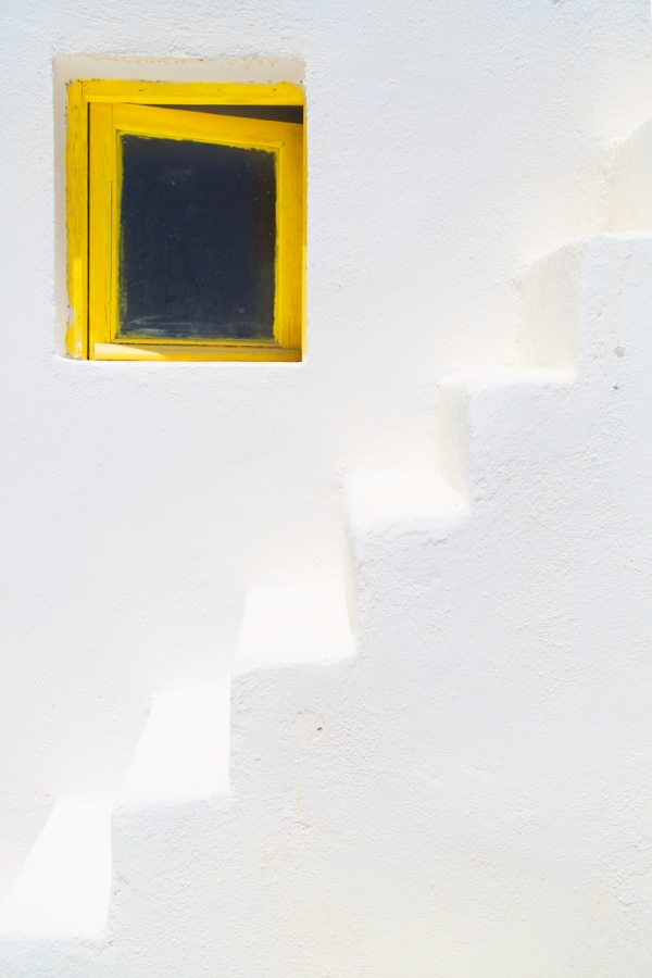 Small windows are a characteristic of greek islands houses.