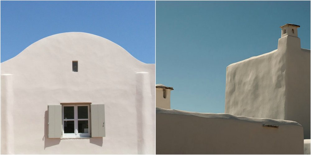 Flat or arched rooftops are a feature of greek island style.