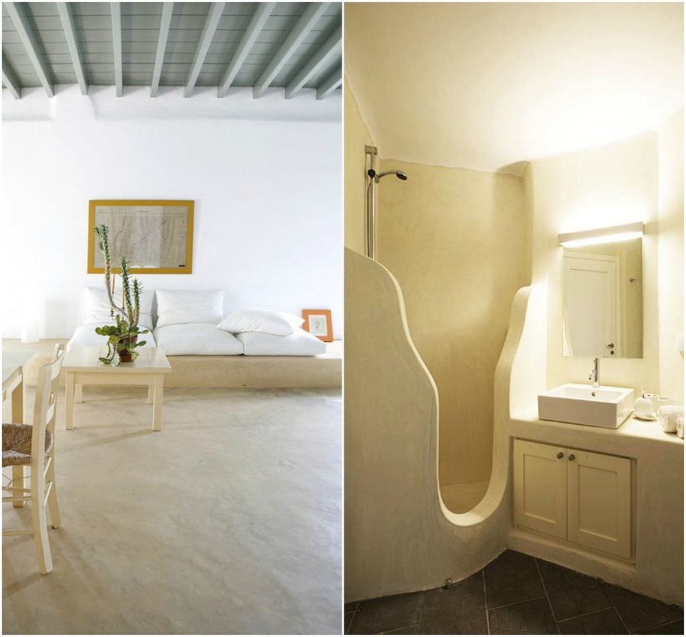 In greek islands style homes polished cement adds a minimalist and sculptural quality.