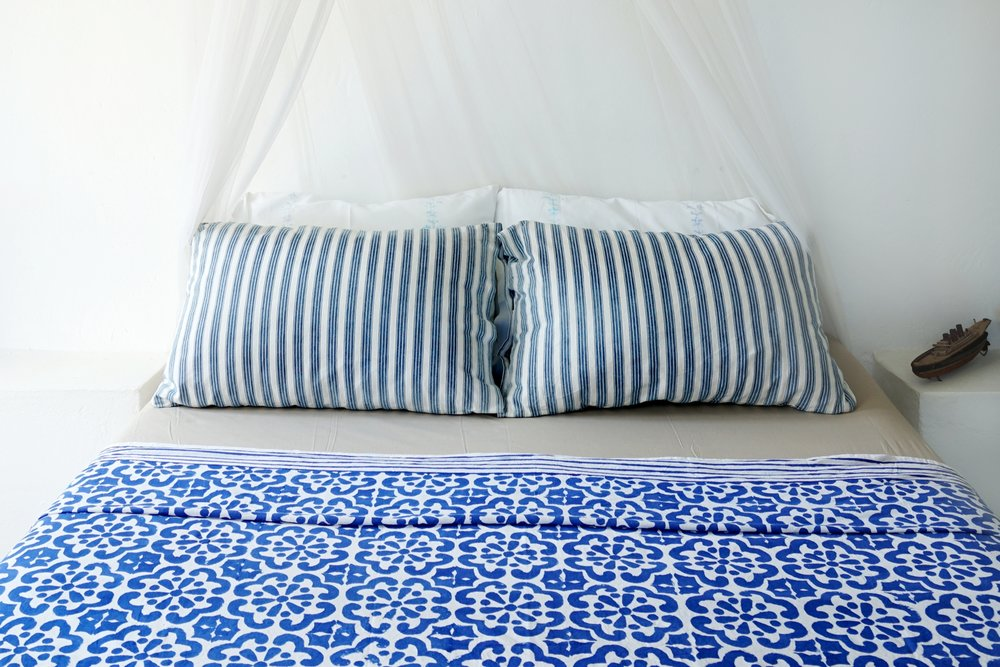 Blue and white stripes are a classic choice for a beach house.
