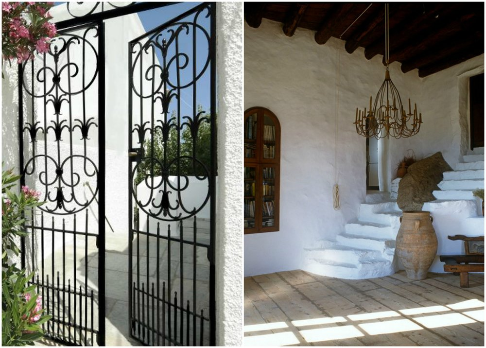 Wrought iron is a material that adds character to a greek summer house.