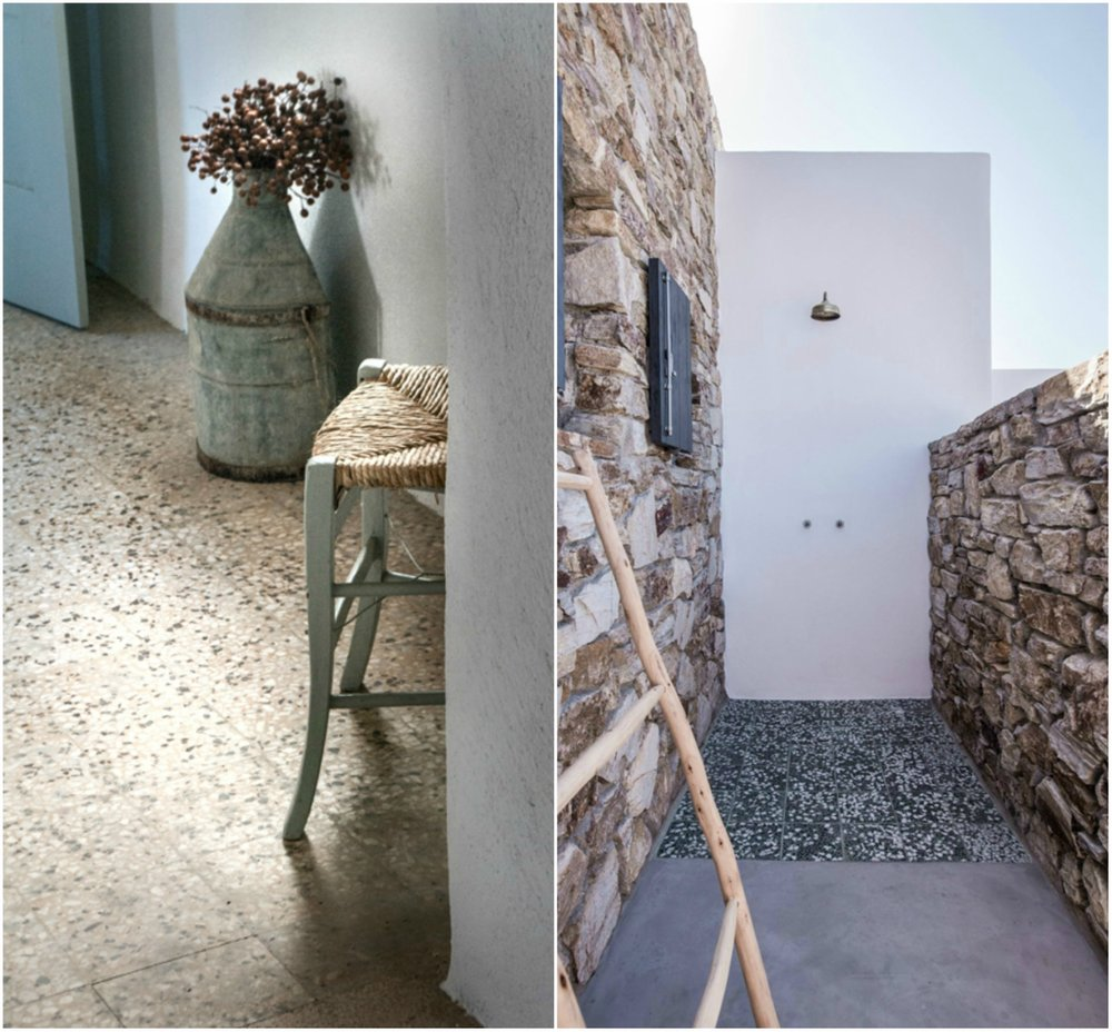 A terazzo floor suits perfectly a greek summer house.