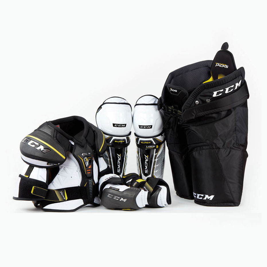 Set of CCM Super Tacks ice hockey protective gear