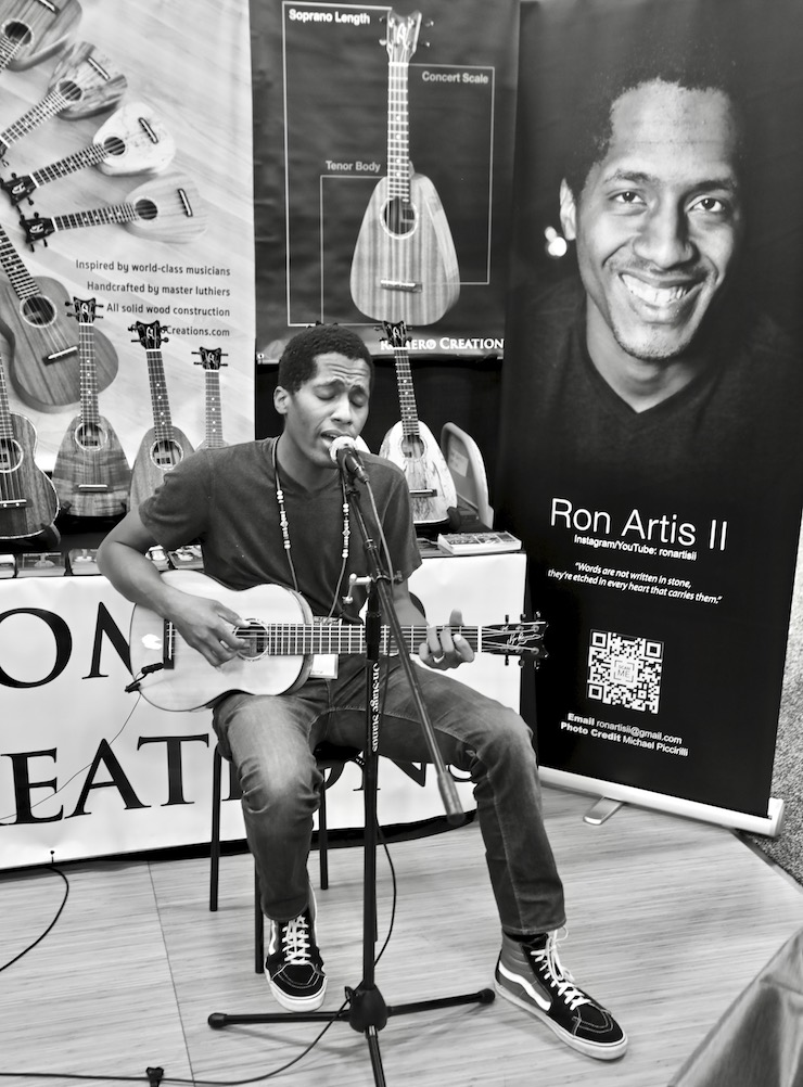 Ron Artis II - performing on the Pepe Romero Signature Six-String at the Romero Creations booth at The NAMM Show in Anaheim, CA (photo by Kevin Kinnear)