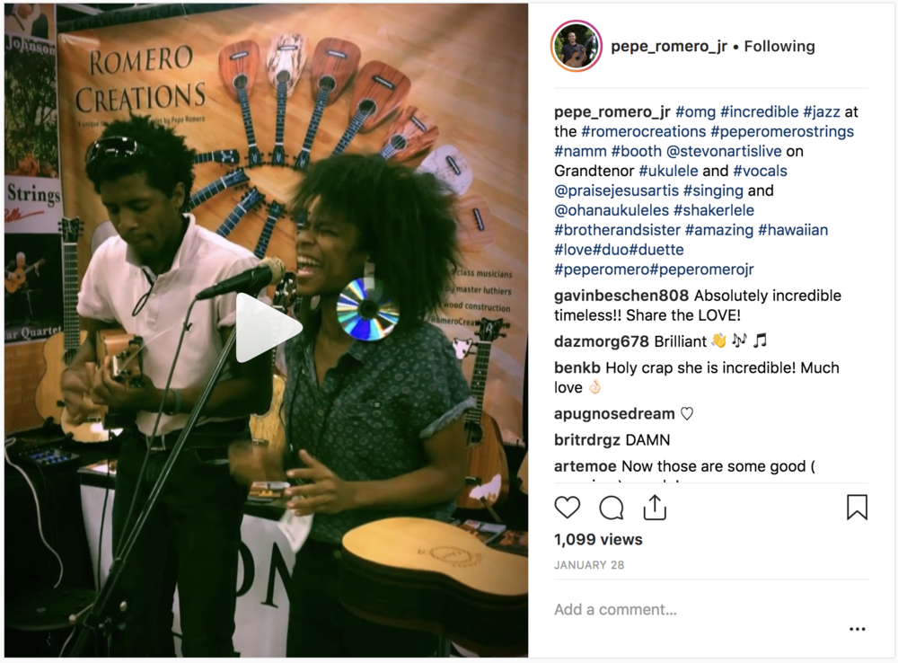 Click to view video of Stevon playing the Romero Creations  Grand Tenor  'ukulele with his sister, Praise Jesus Artis, at The NAMM Show's Romero Creations booth.